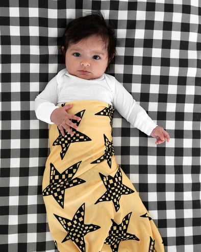 Woolf With Me Fitted Crib Sheet Small Buffalo Check color_black