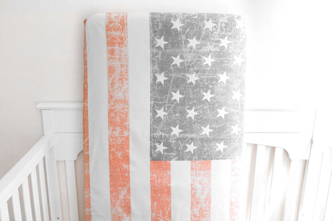 Organic Crib Sheet Distressed American Flag - Woolf With Me® - 1