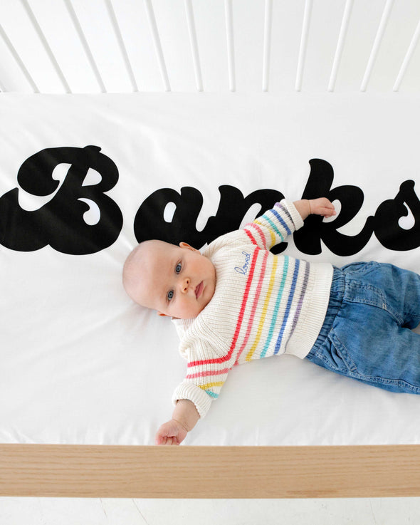 Organic Personalized Crib Sheet, Groovy