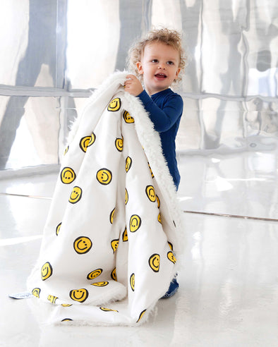 Woolf With Me Organic Baby Blanket Happy Faces color_primrose-yellow