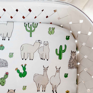 Woolf With Me Fitted Crib Sheet Llamas color_white