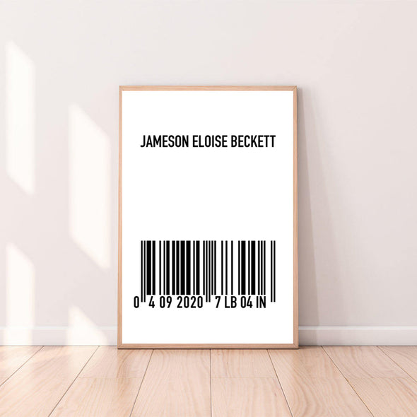 "Personalized ""Custom Name"" Barcode Wall Art"