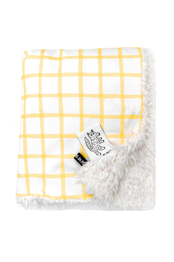 Organic Baby Blanket Small Plaid color_primrose-yellow