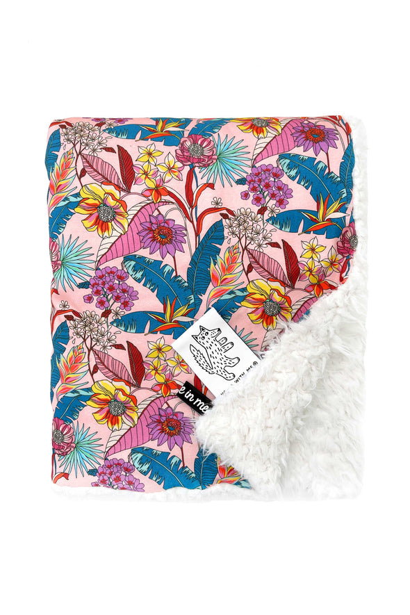 Organic Baby Blanket Tropical Psychedelic Floral color_pale-pink
