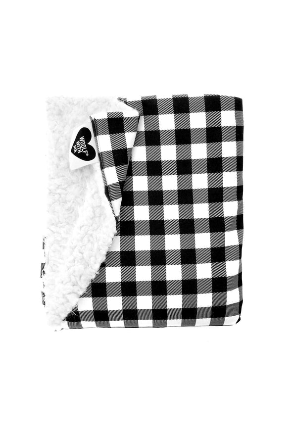 Woolf With Me Organic Baby Blanket Small Buffalo Checks color_black