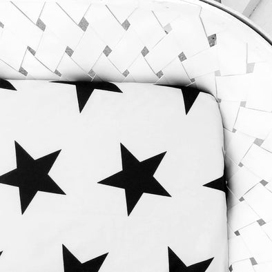 Woolf With Me Fitted Crib Sheet Stars color_black