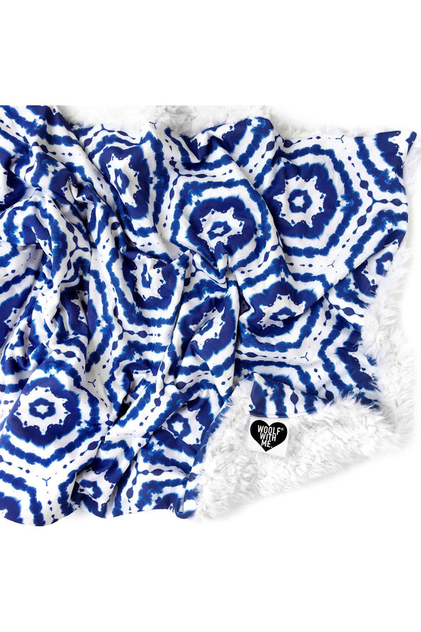 Woolf With Me Baby Blanket Tie Dye color_navy