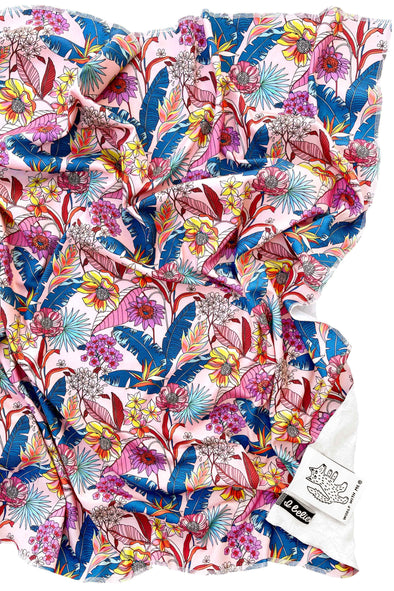 Woolf With Me Organic Swaddle Blanket Tropical Psychedelic Floral color_pale-pink