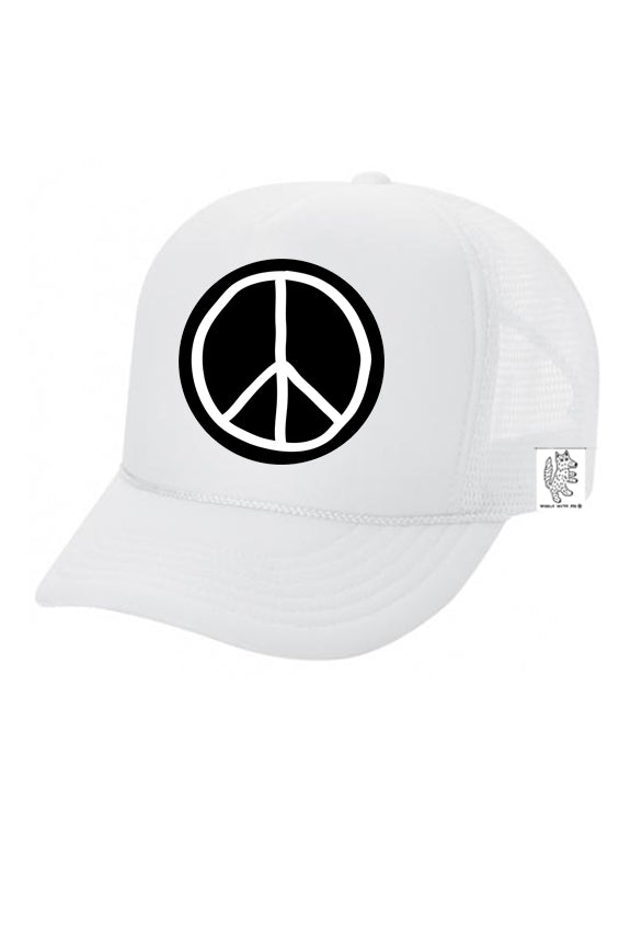 KIDS Trucker Hat Peace Sign 5Y-10Y color_white