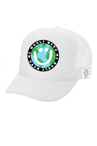 KIDS Trucker Hat Mother Earth/Happy Face 5Y-10Y color_white