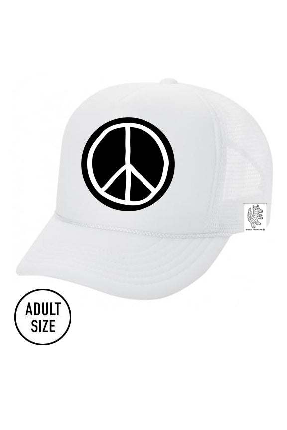 ADULT Trucker Hat Peace Sign color_white