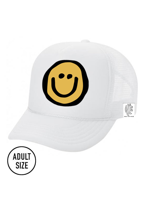 ADULT Trucker Hat Happy Face color_white