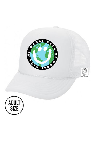 ADULT Trucker Hat Mother Earth/Happy Face color_white