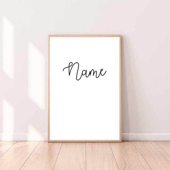Personalized Custom Name Wall Art Cursive color_black