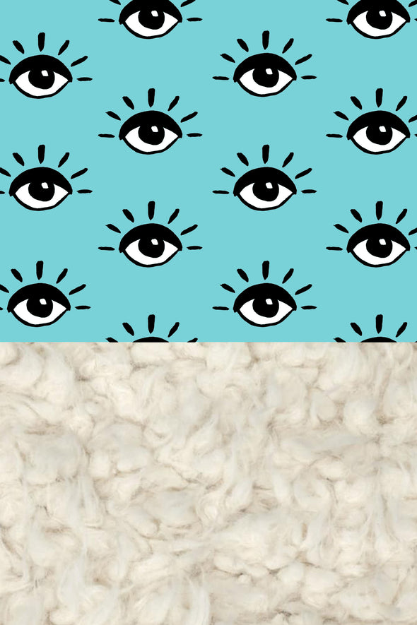 Woolf With Me Organic Baby Blanket Eyes color_aqua