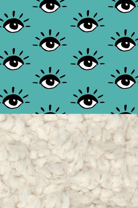 Woolf With Me Organic Baby Blanket Eyes color_eggshell-blue