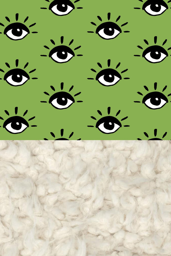 Woolf With Me Organic Baby Blanket Eyes color_greenery