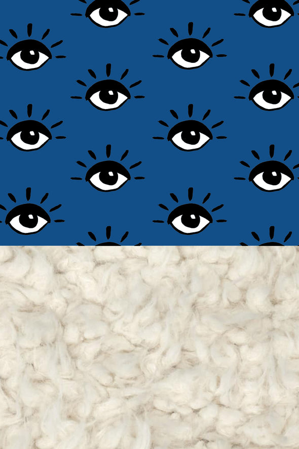 Woolf With Me Organic Baby Blanket Eyes color_lapis-blue