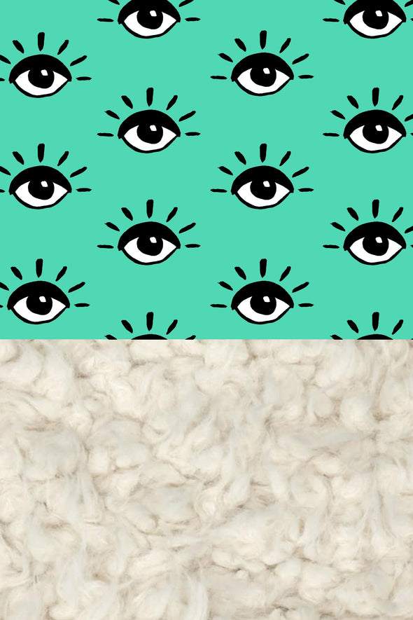Woolf With Me Organic Baby Blanket Eyes color_light-jade