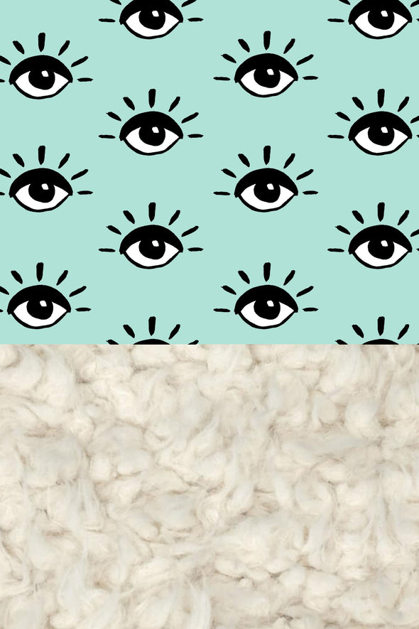Woolf With Me Organic Baby Blanket Eyes color_mint