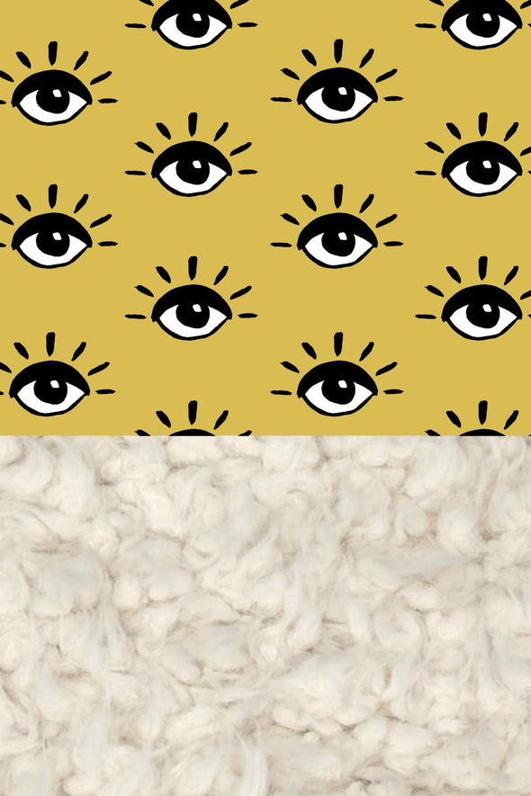 Woolf With Me Organic Baby Blanket Eyes color_mustard