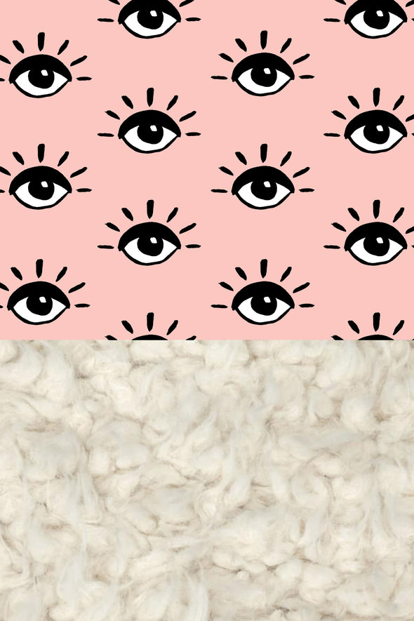 Woolf With Me Organic Baby Blanket Eyes color_pale-pink