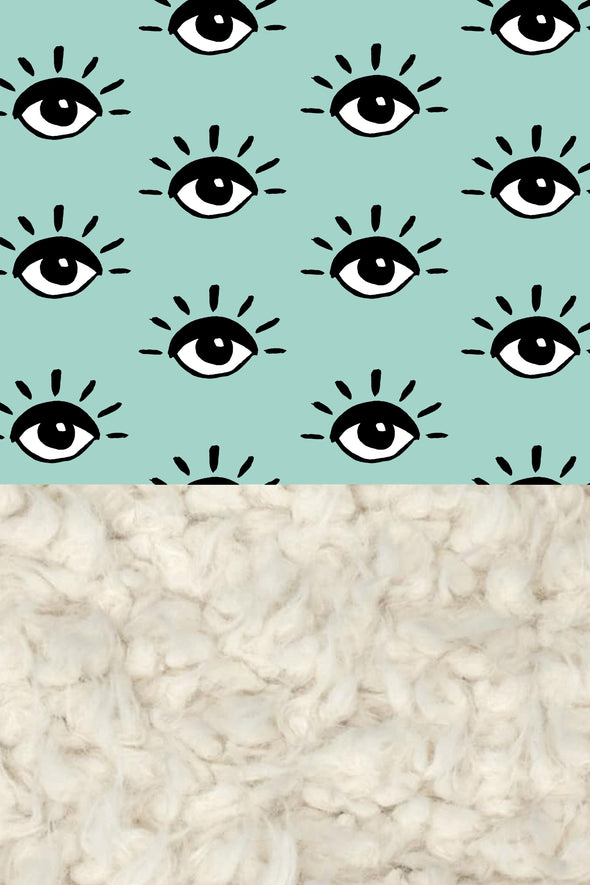 Woolf With Me Organic Baby Blanket Eyes color_pale-turquoise