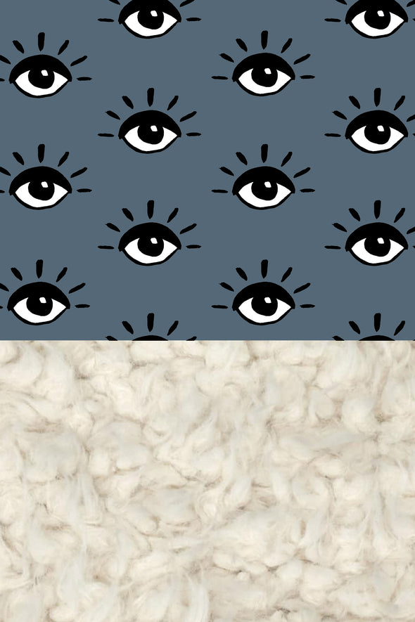 Woolf With Me Organic Baby Blanket Eyes color_paynes-gray