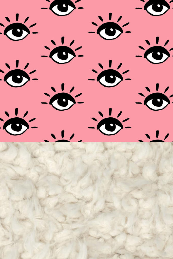 Woolf With Me Organic Baby Blanket Eyes color_pink