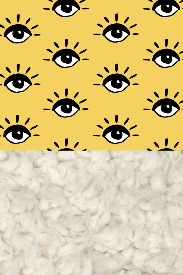 Woolf With Me Organic Baby Blanket Eyes color_primrose-yellow
