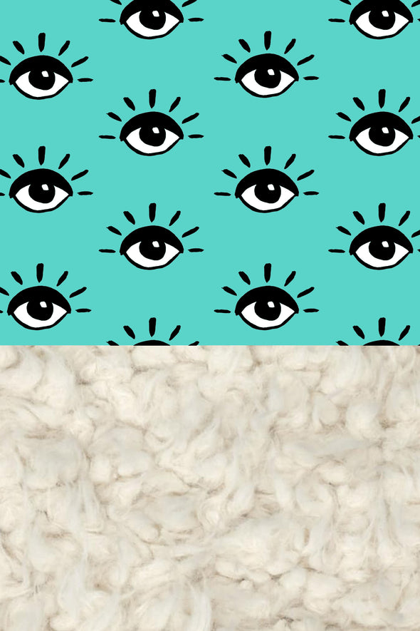 Woolf With Me Organic Baby Blanket Eyes color_teal