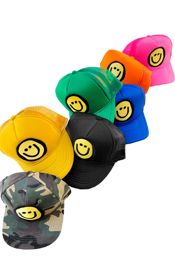 ADULT Trucker Hat Happy Face // Same Day Shipping!