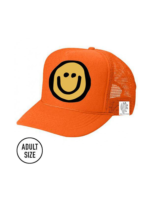 ADULT Trucker Hat Happy Face (NEON ORANGE) // Same Day Shipping!
