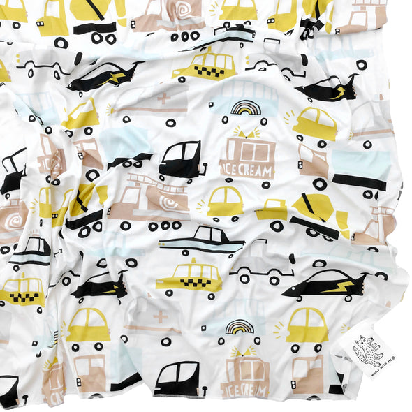 Woolf With Me Organic Swaddle Blanket Cars and Trucks color_white
