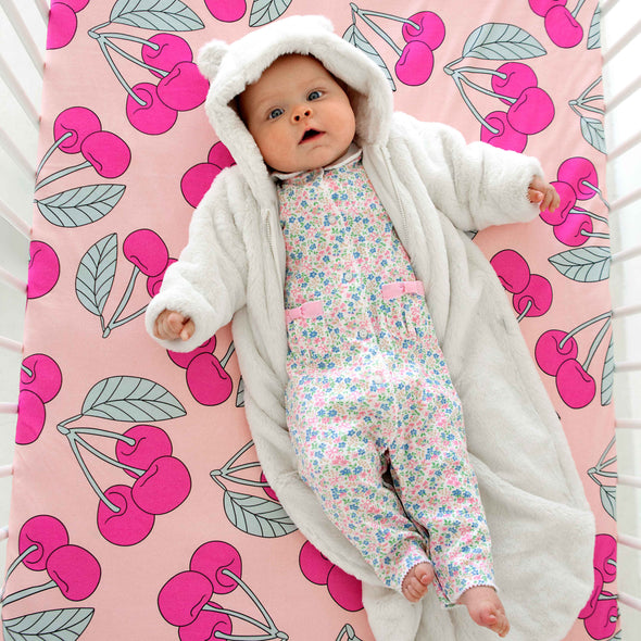 Organic Crib Sheet Cherry