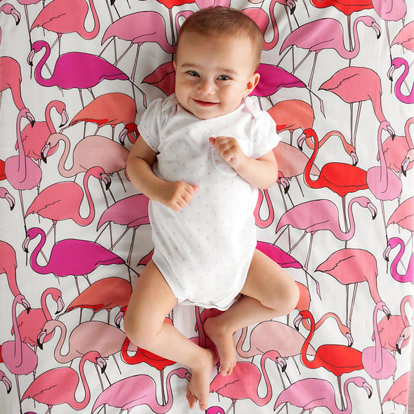 Woolf With Me Fitted Crib Sheet Flamingo