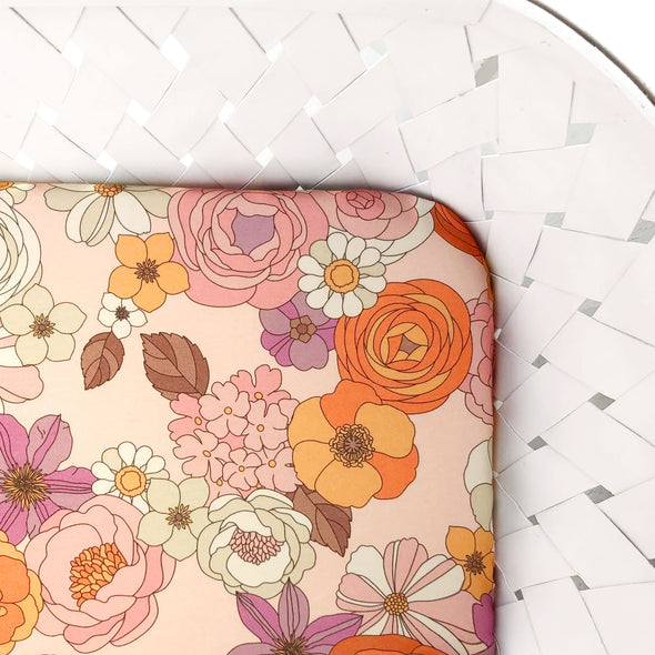 Woolf With Me Fitted Crib Sheet Groovy Floral color_pale-blush