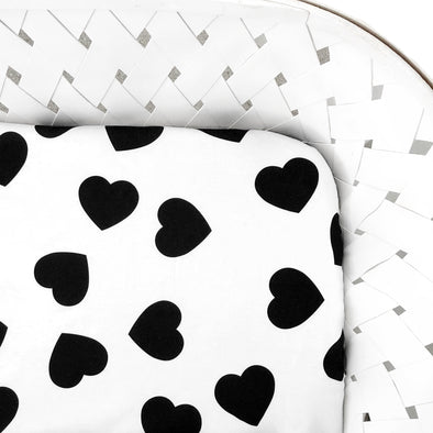 Woolf With Me Fitted Crib Sheet Hearts color_black