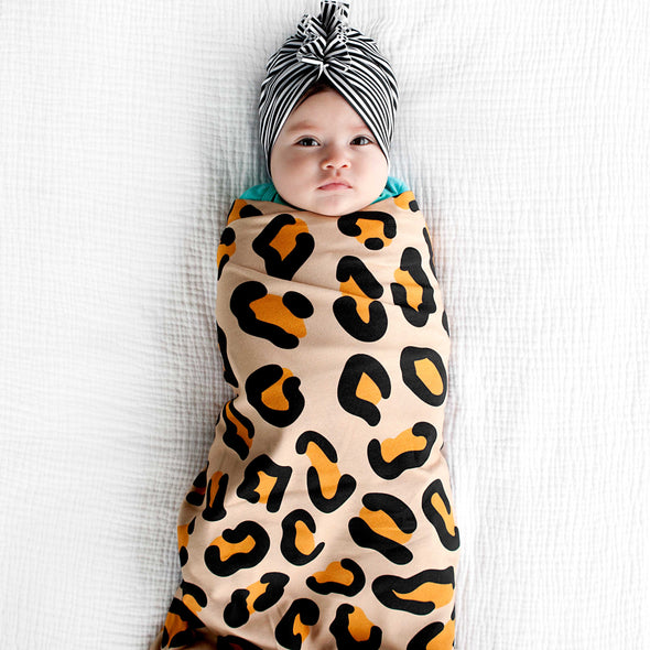 Woolf With Me Organic Swaddle Blanket Leopard Print