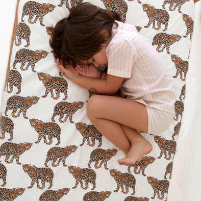 Woolf With Me Fitted Crib Sheet Leopard color_white