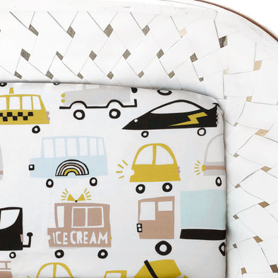Woolf With Me Fitted Crib Sheet Cars and Trucks color_white