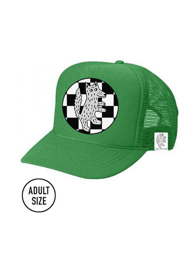 ADULT Trucker Hat Wolf Checkered color_kelly-green