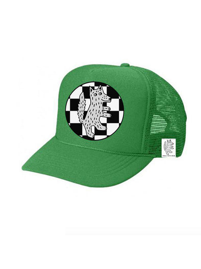 KIDS Trucker Hat Wolf Checkered 5Y-10Y color_kelly-green