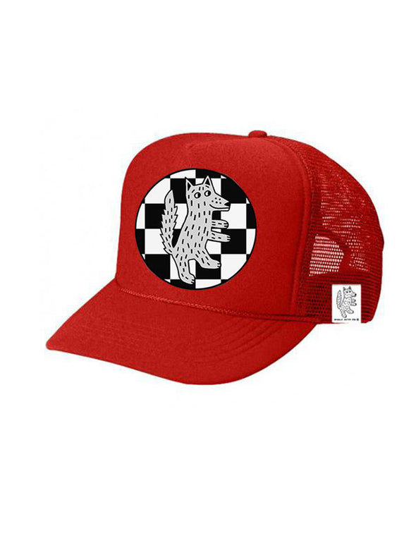 KIDS Trucker Hat Wolf Checkered 5Y-10Y color_bright-red