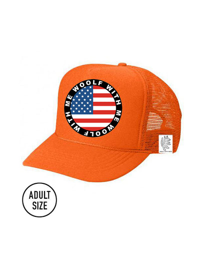 ADULT Trucker Hat USA Flag (NEON ORANGE)