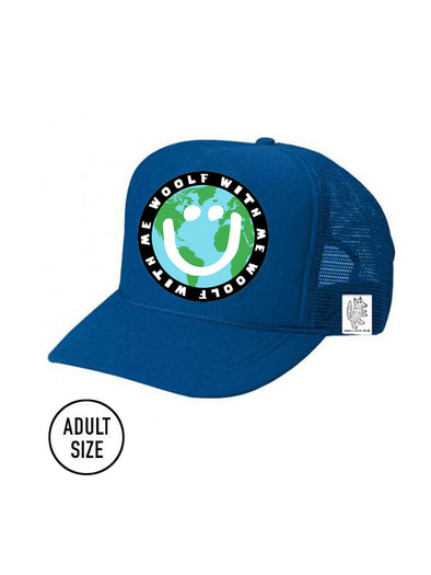 ADULT Trucker Hat Mother Earth/Happy Face // Same Day Shipping!