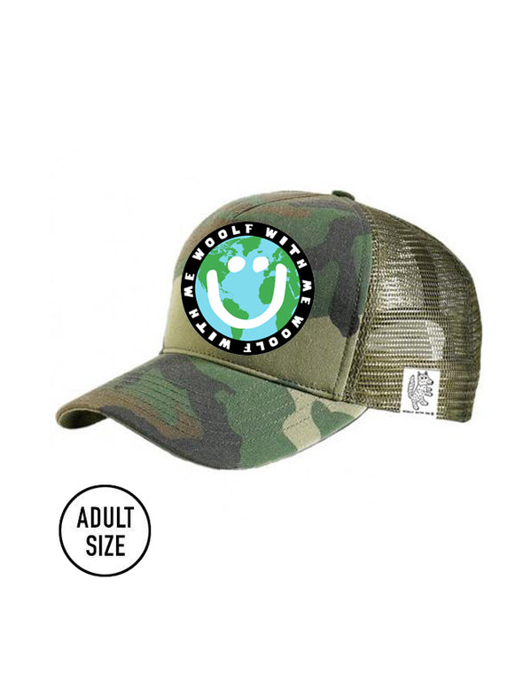 ADULT Trucker Hat Camouflage, Mother Earth/Happy Face // Same Day Shipping!