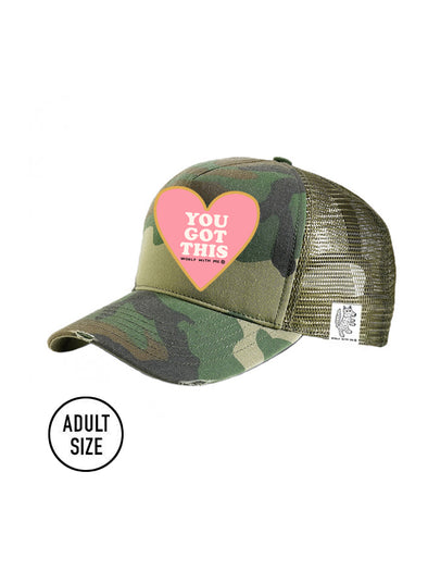 ADULT Trucker Hat Camouflage, You Got This // Same Day Shipping!