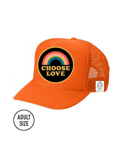 ADULT Trucker Hat Choose Love (NEON ORANGE) Same Day Shipping!