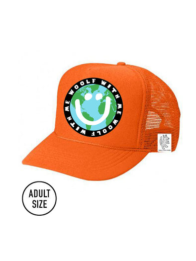ADULT Trucker Hat Mother Earth/Happy Face (NEON ORANGE) Same Day Shipping!